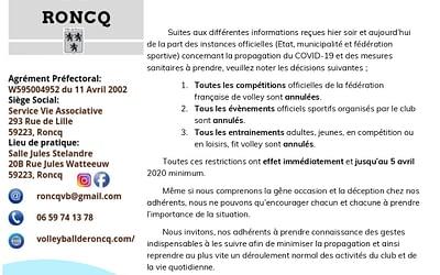 Communiqué – Situation COVID-19 – Mars 2020