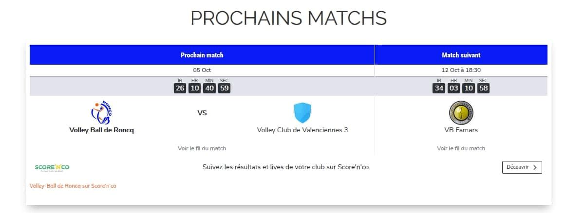 Score n co prochain match equipe